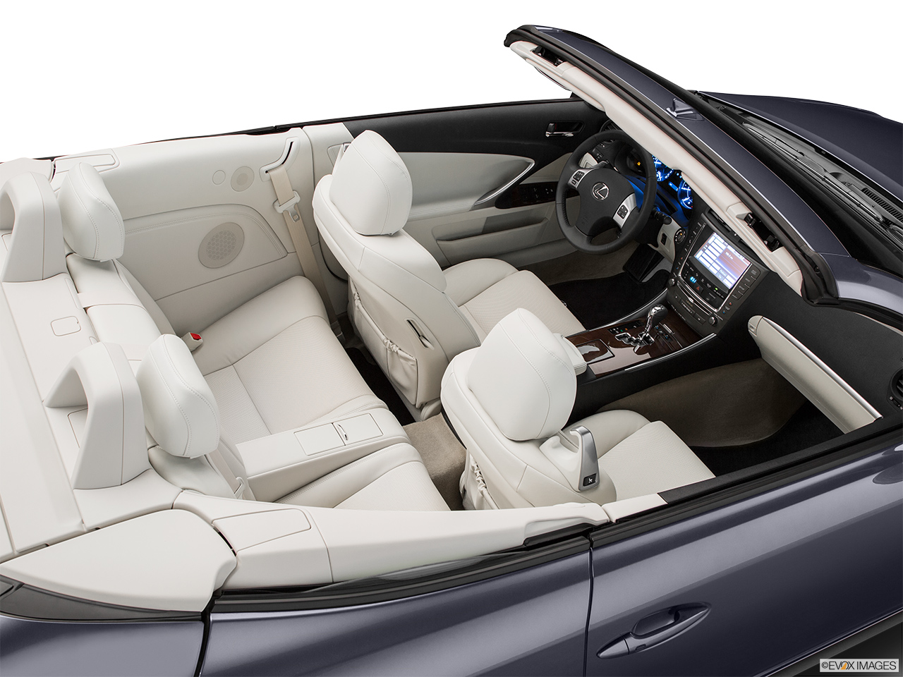 2015 Lexus IS C IS 350 Convertible Hero (high from passenger, looking down into interior).