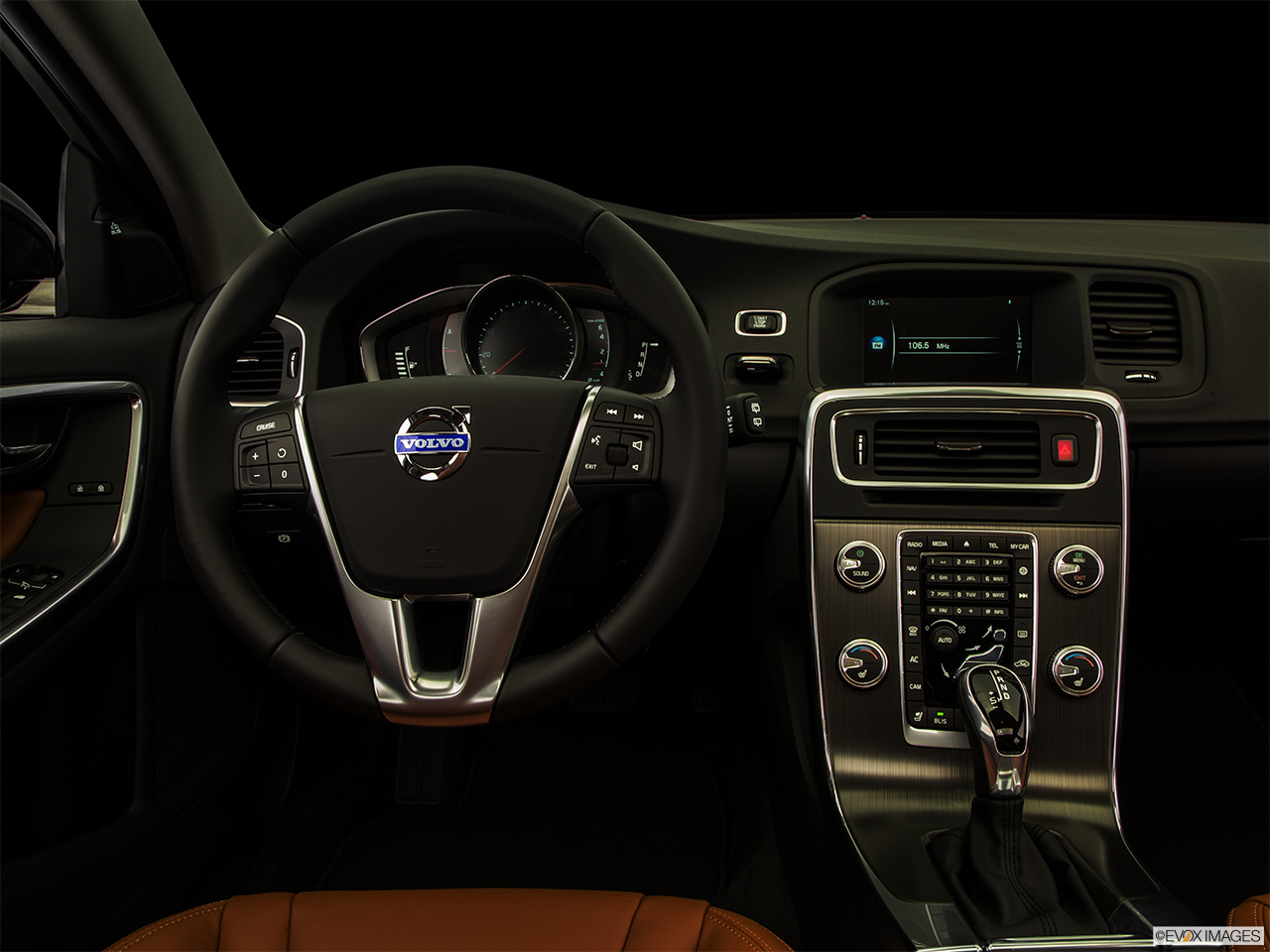 "2015 Volvo V60 Cross Country T5 AWD Centered wide dash shot - ""night"" shot."