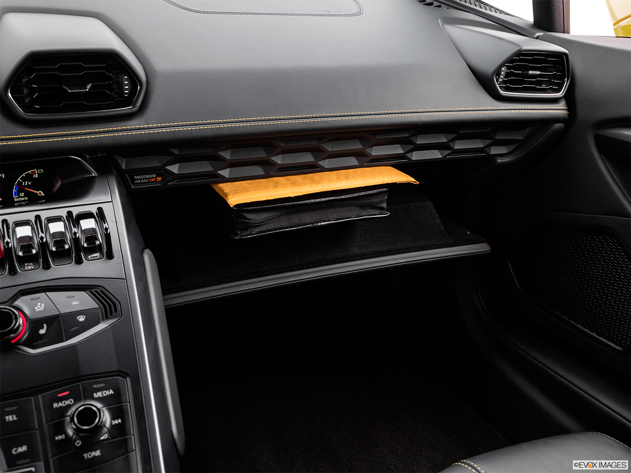 2015 Lamborghini Huracan LP 610-4 Glove box open.