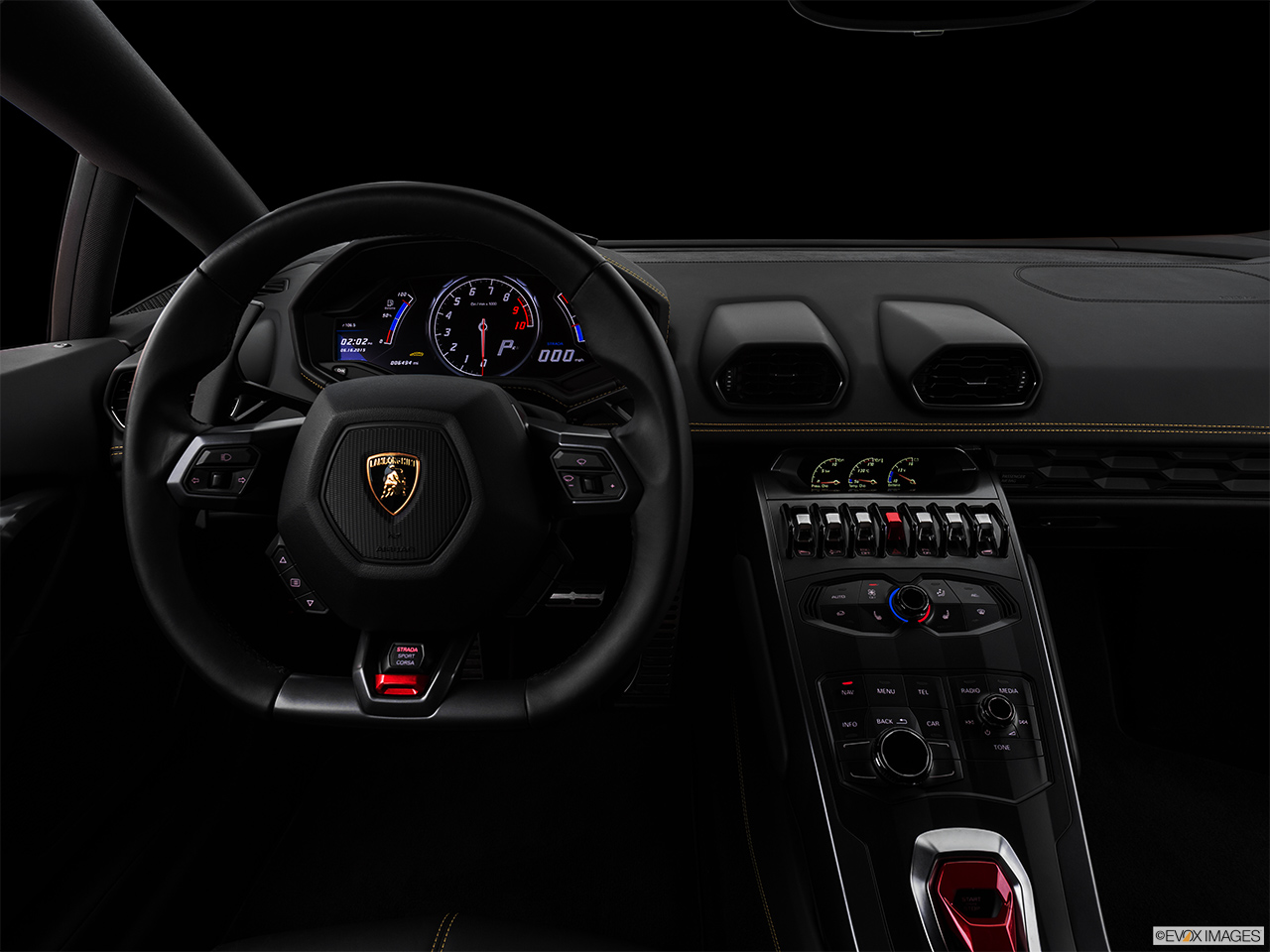 "2015 Lamborghini Huracan LP 610-4 Centered wide dash shot - ""night"" shot."