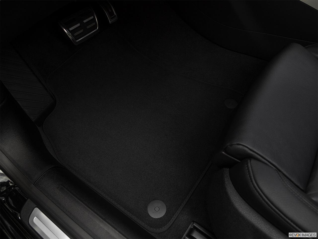 2017 Audi A5 Sport 2.0 TFSI Driver's floor mat and pedals. Mid-seat level from outside looking in.