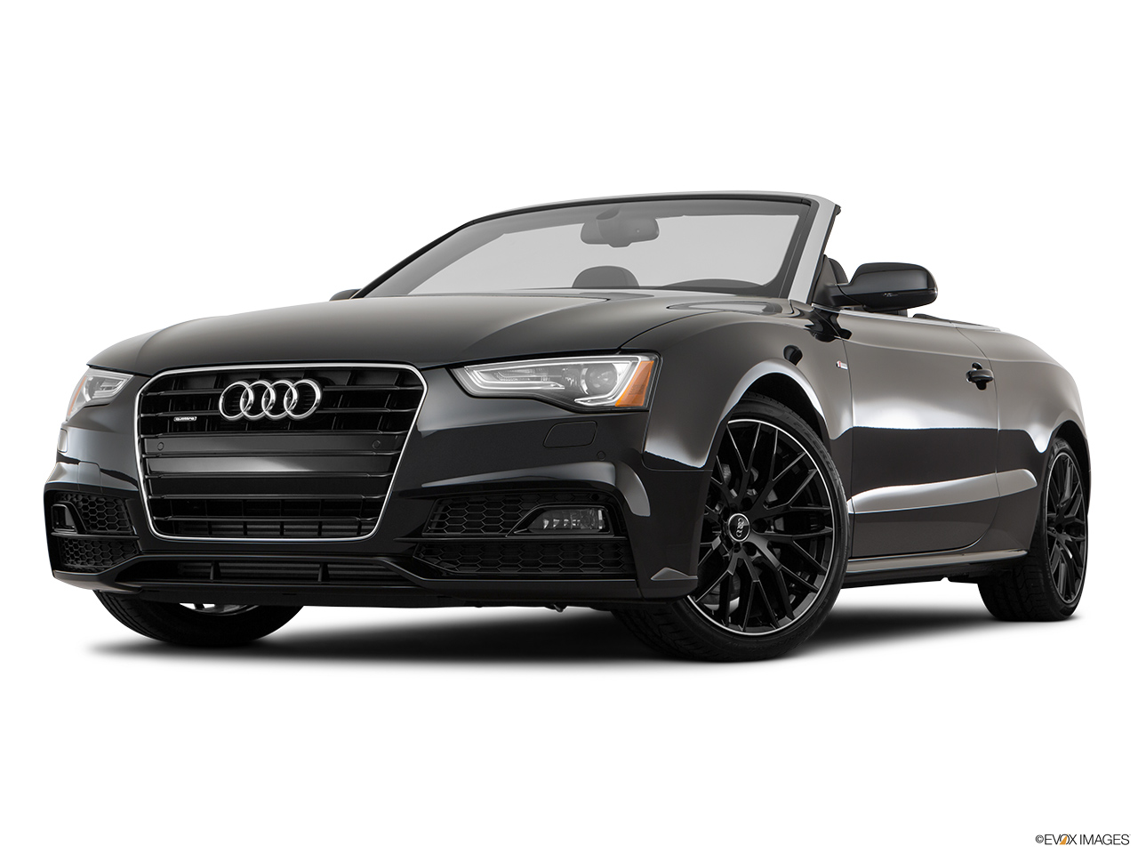 2017 Audi A5 Sport Cabriolet 2.0 TFSI Front angle view, low wide perspective.