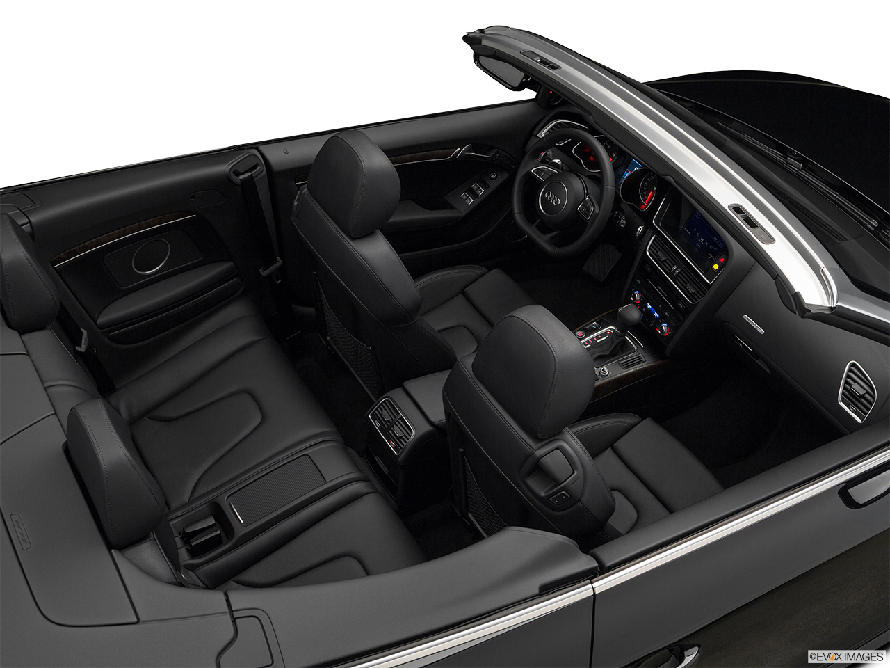 2017 Audi A5 Sport Cabriolet 2.0 TFSI Convertible Hero (high from passenger, looking down into interior).