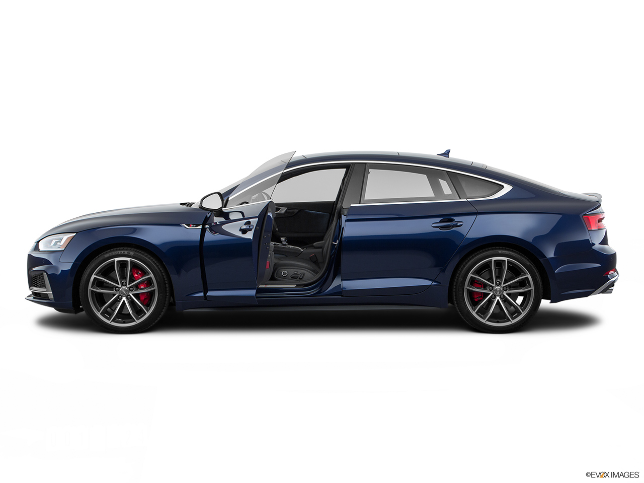2019 Audi S5 Sportback Premium Plus 3.0 TFSI Driver's side profile with drivers side door open.