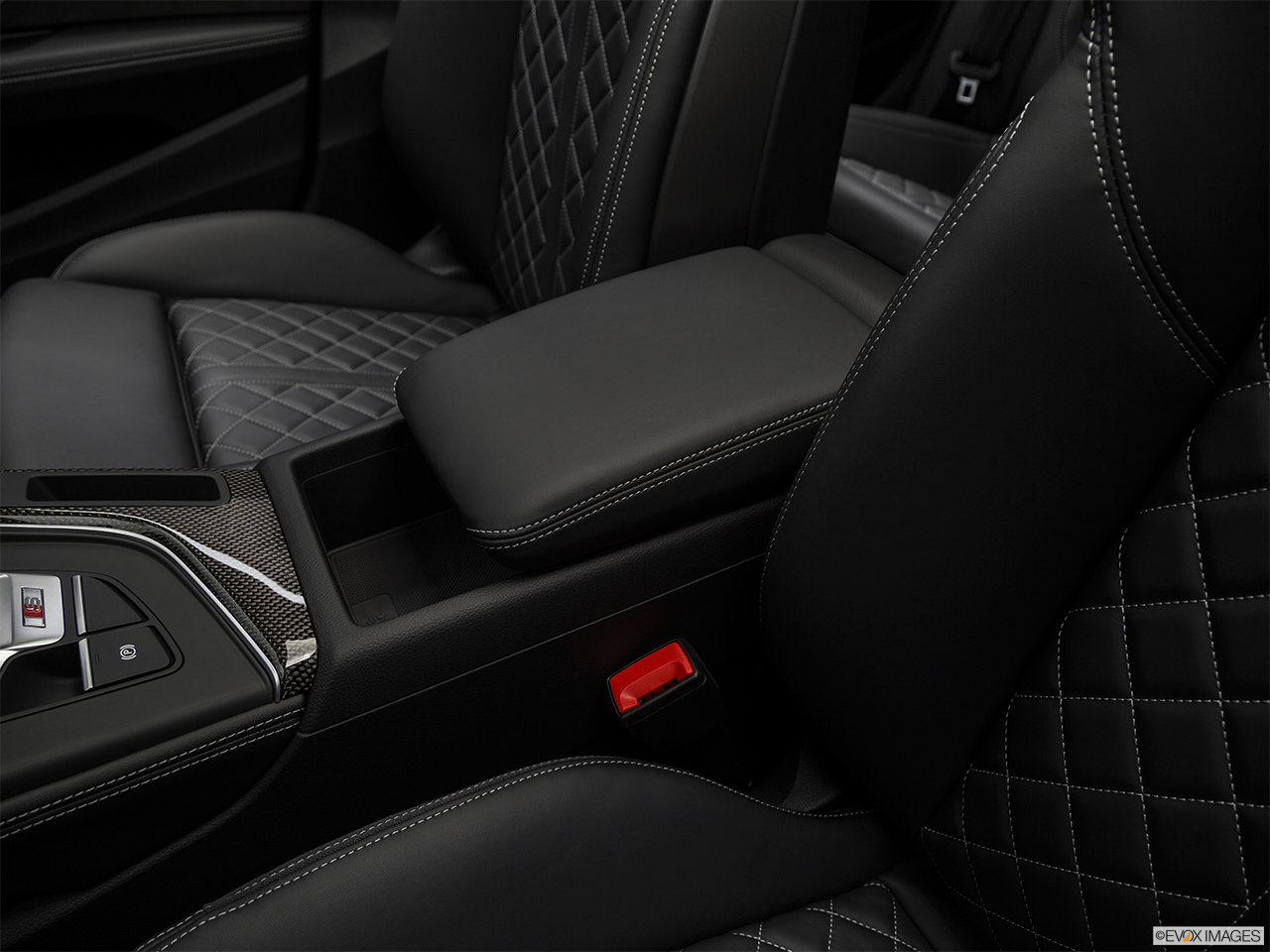 2019 Audi S5 Sportback Premium Plus 3.0 TFSI Front center console with closed lid, from driver's side looking down