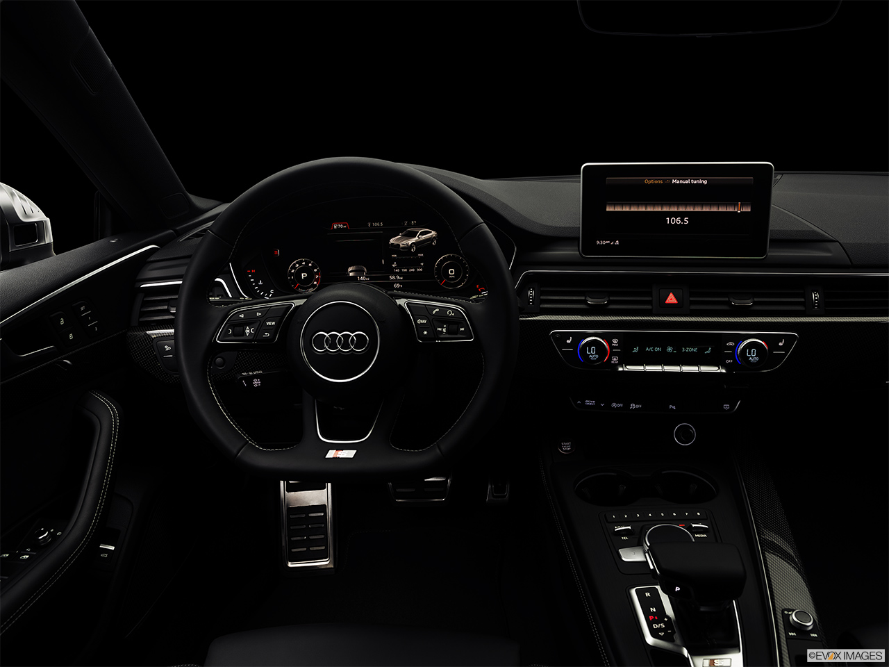 "2019 Audi S5 Sportback Premium Plus 3.0 TFSI Centered wide dash shot - ""night"" shot."