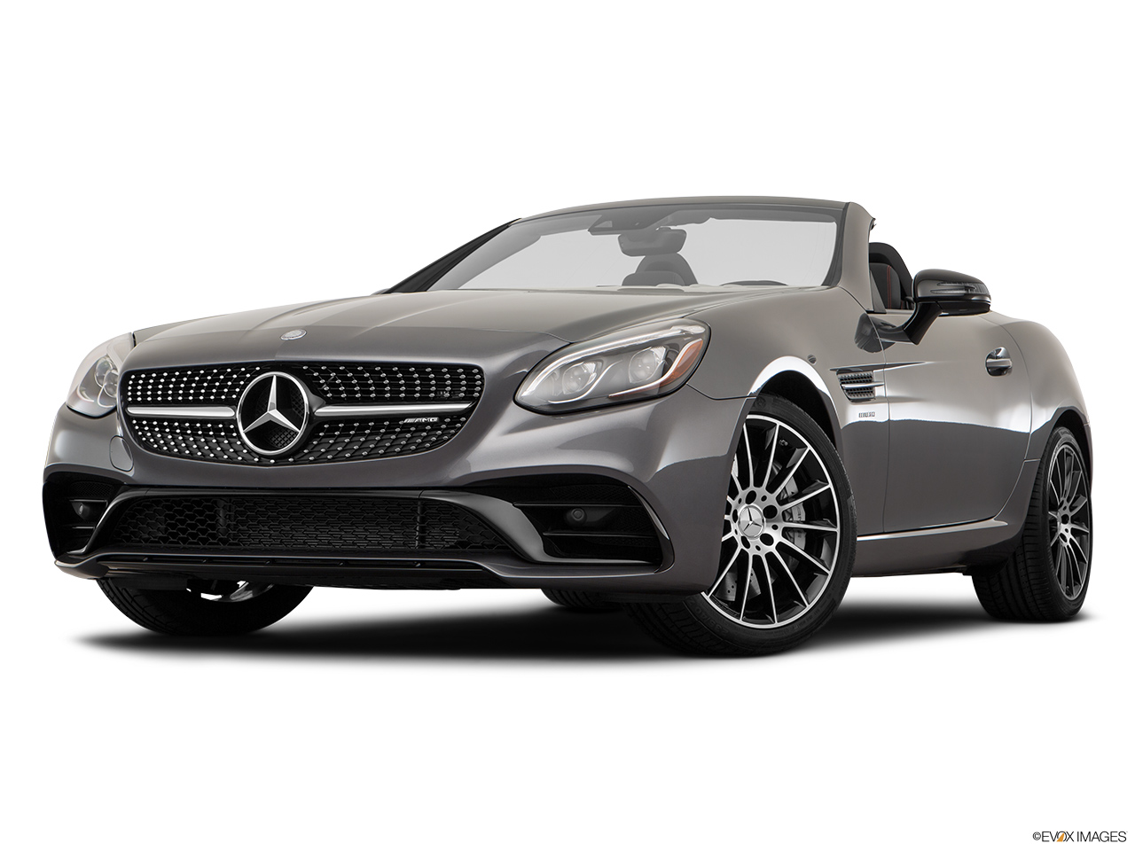 2019 Mercedes-Benz SLC-class SLC43 AMG Front angle view, low wide perspective.
