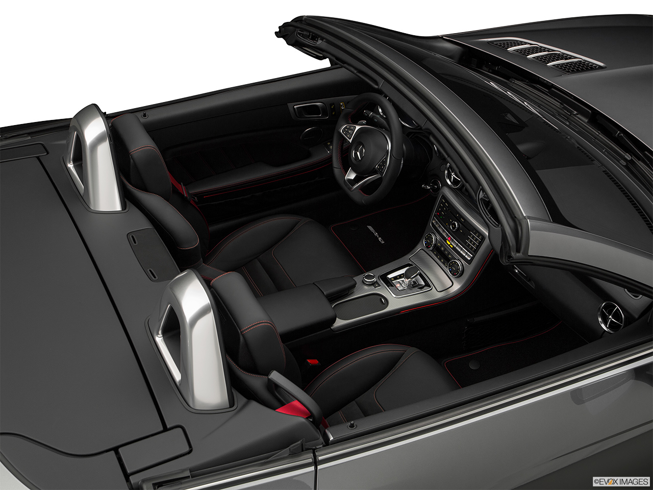 2019 Mercedes-Benz SLC-class SLC43 AMG Convertible Hero (high from passenger, looking down into interior).