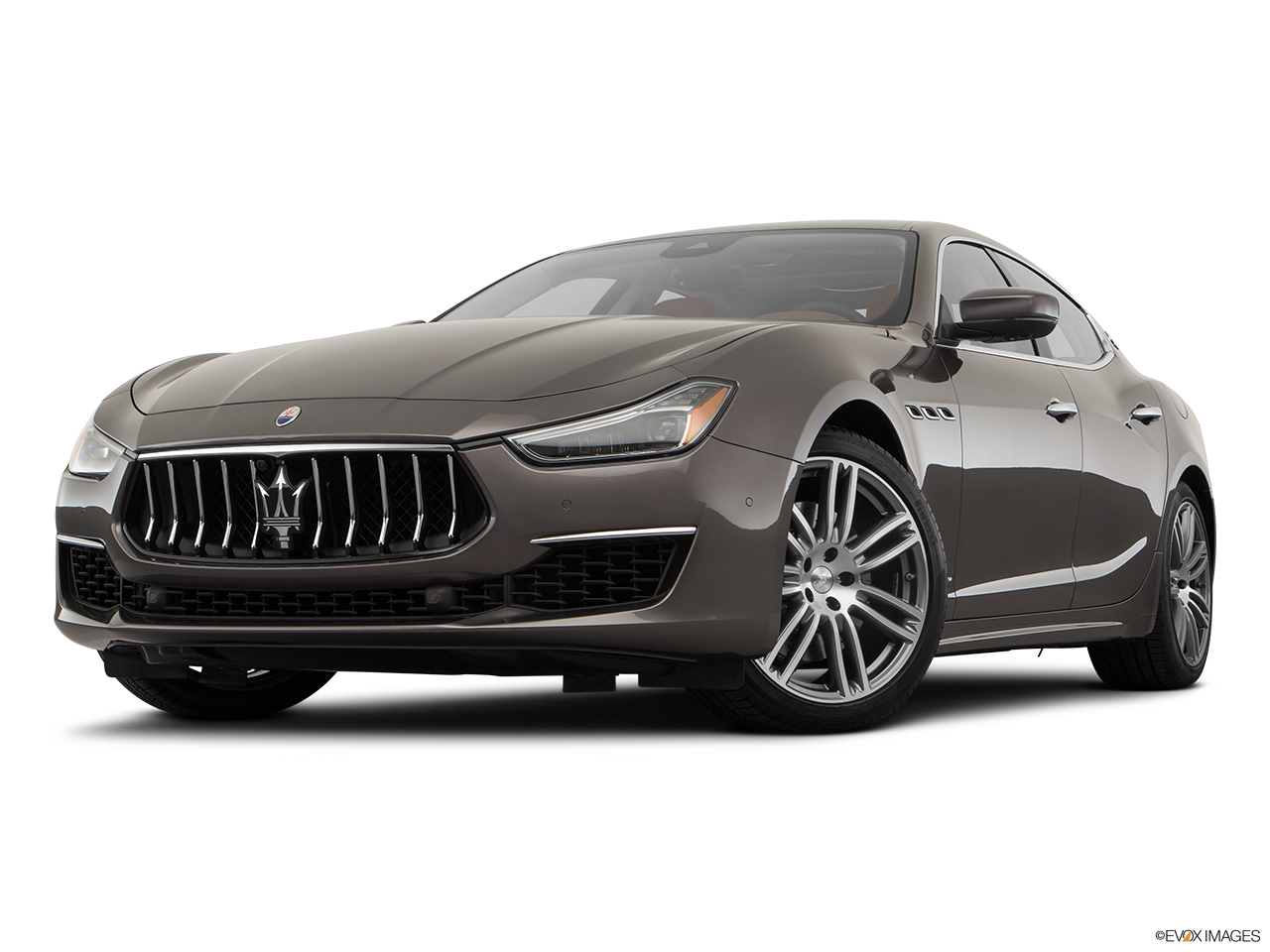 2018 Maserati Ghibli  S Granlusso Front angle view, low wide perspective.