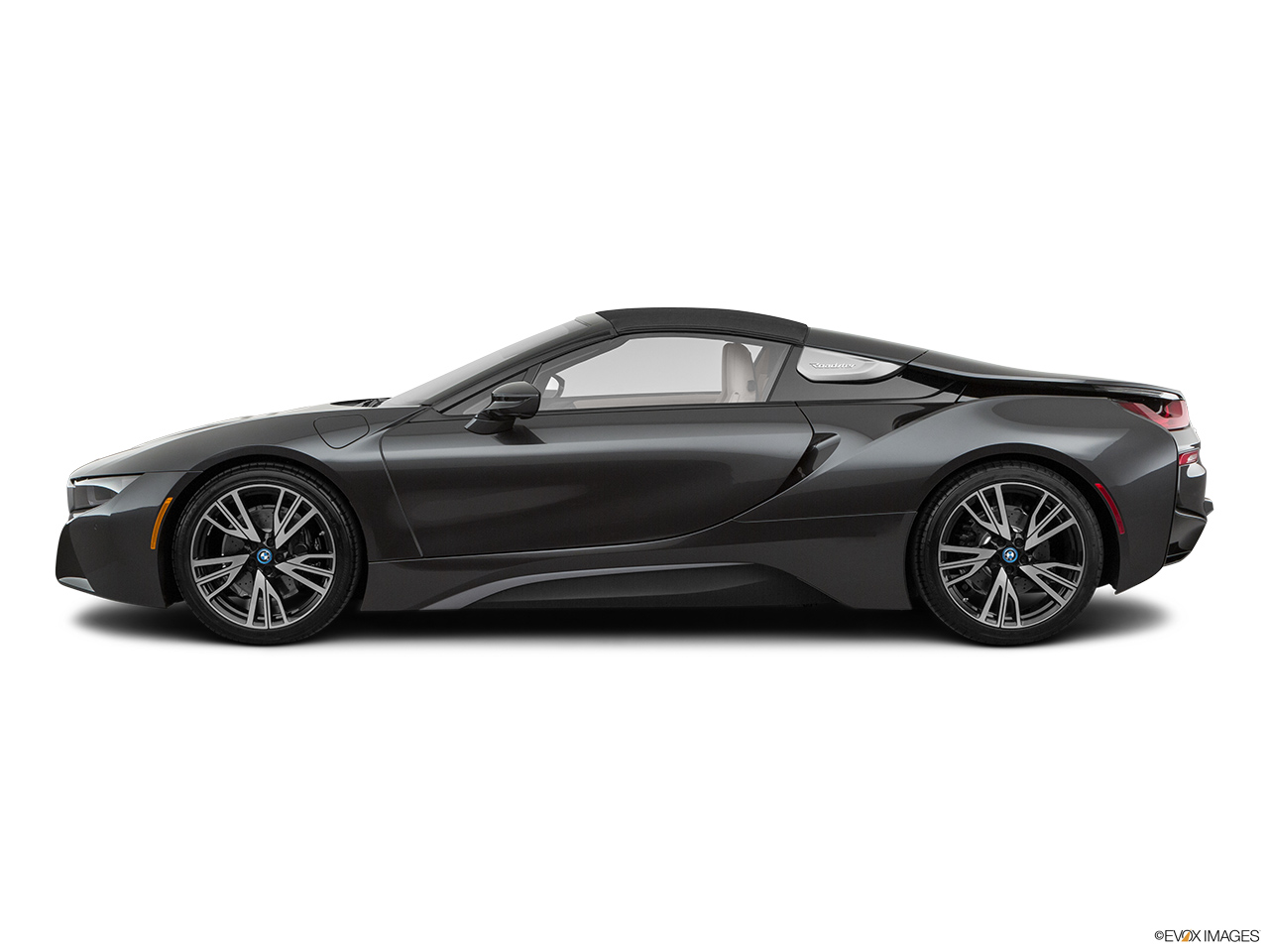 2019 BMW i8 Roadster Standard World Drivers side profile, convertible top up (convertibles only).