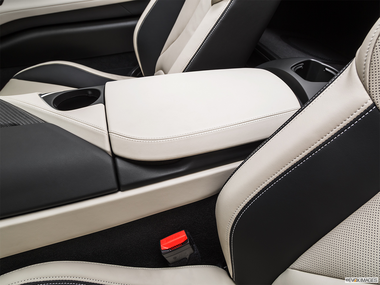 2019 BMW i8 Roadster Standard World Front center console with closed lid, from driver's side looking down