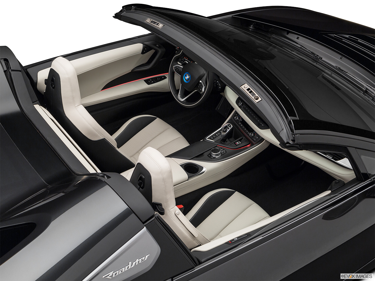 2019 BMW i8 Roadster Standard World Convertible Hero (high from passenger, looking down into interior).