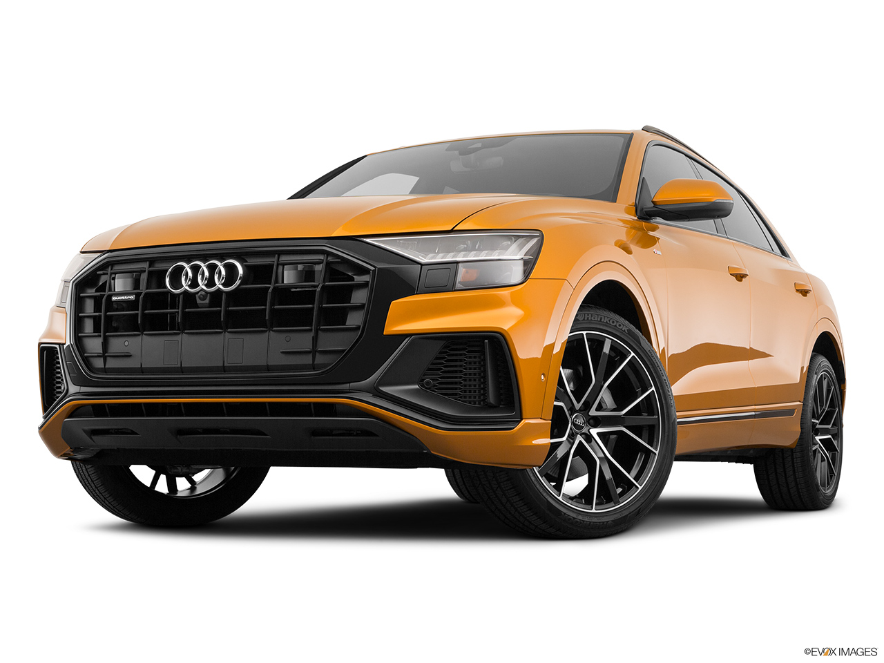 2019 Audi Q8 Prestige 3.0 TFSI Front angle view, low wide perspective.