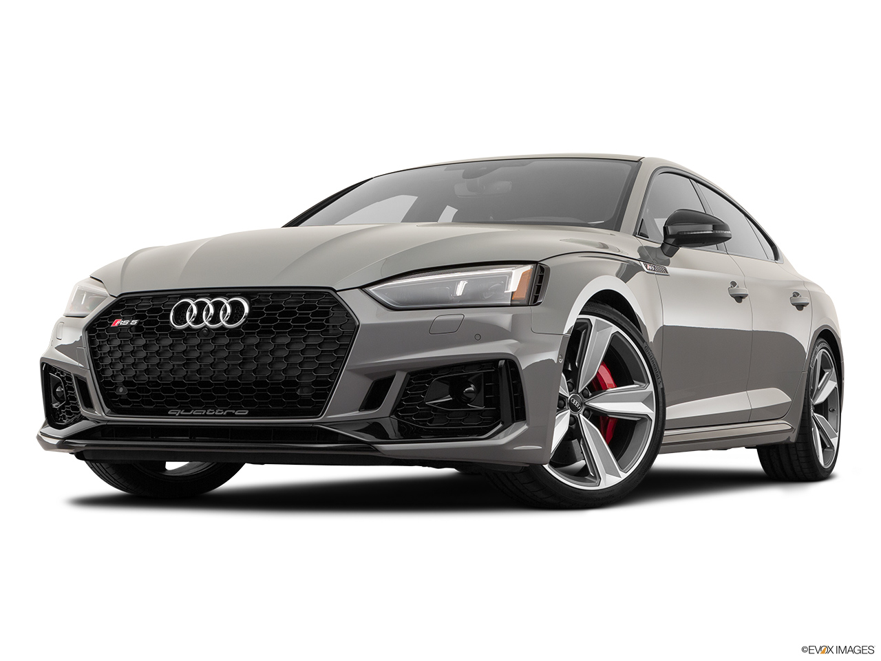 2019 Audi RS 5 Sportback 2.9 TFSI Front angle view, low wide perspective.