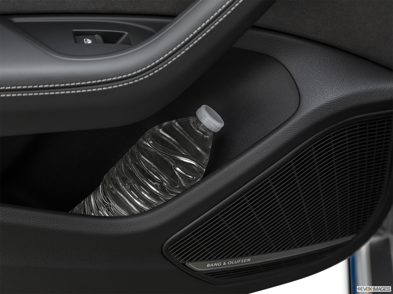 2019 Audi RS 5 Sportback 2.9 TFSI Second row side cup holder with coffee prop, or second row door cup holder with water bottle.