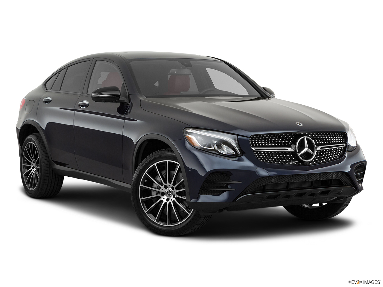 2019 Mercedes-Benz GLC-Class Coupe GLC 300 4MATIC Front passenger 3/4 w/ wheels turned.