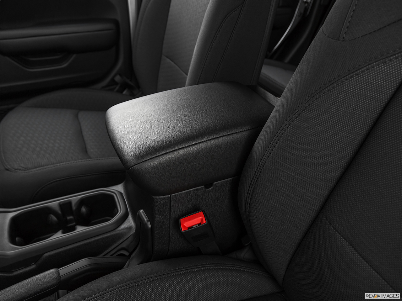 2020 Jeep Gladiator Sport S Front center console with closed lid, from driver's side looking down