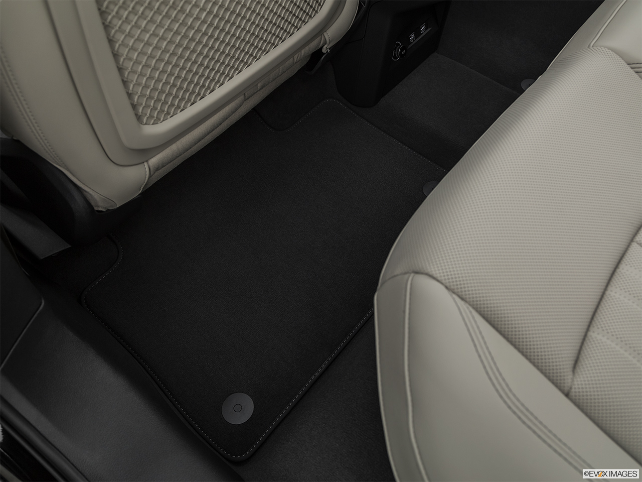 2019 Audi e-tron Premium Plus Rear driver's side floor mat. Mid-seat level from outside looking in.