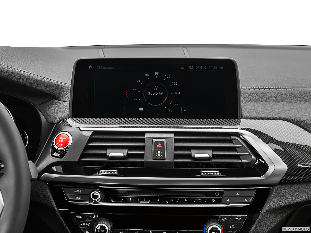 2020 BMW X3 M Competition Closeup of radio head unit