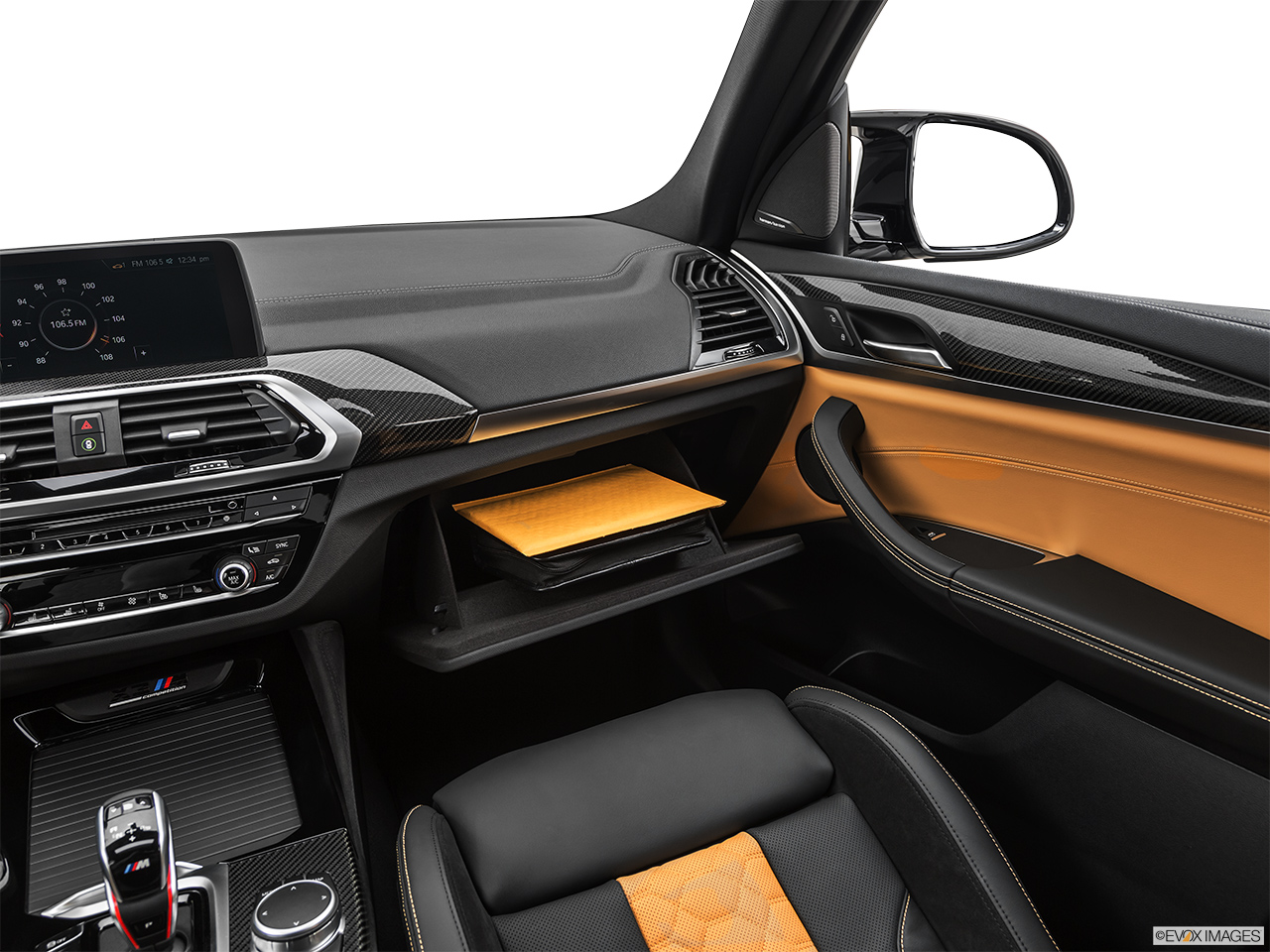 2020 BMW X3 M Competition Glove box open.