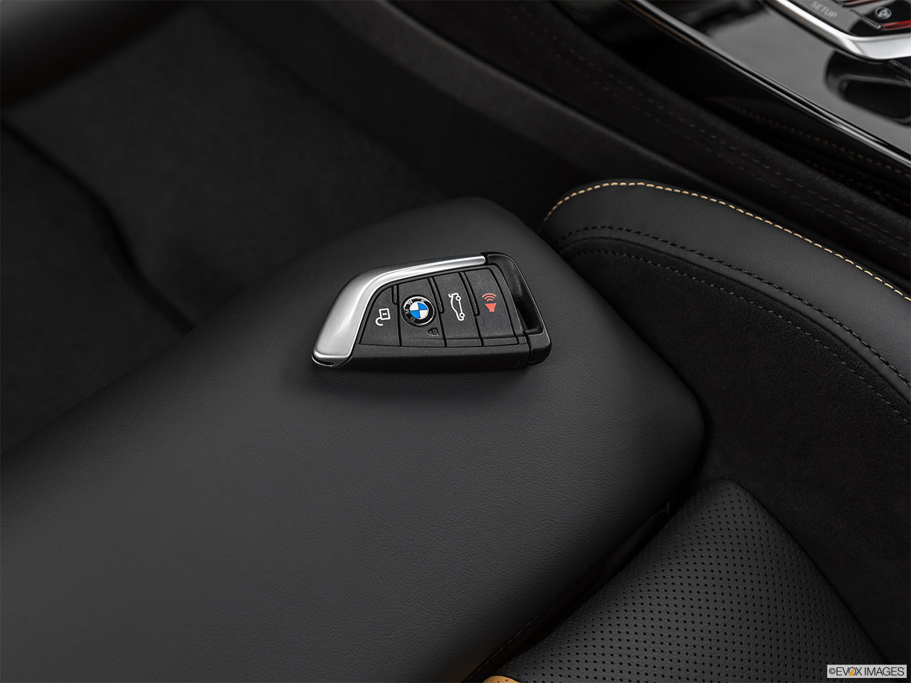 2020 BMW X3 M Competition Key fob on driver's seat.