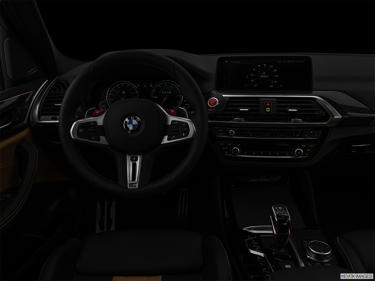 "2020 BMW X3 M Competition Centered wide dash shot - ""night"" shot."