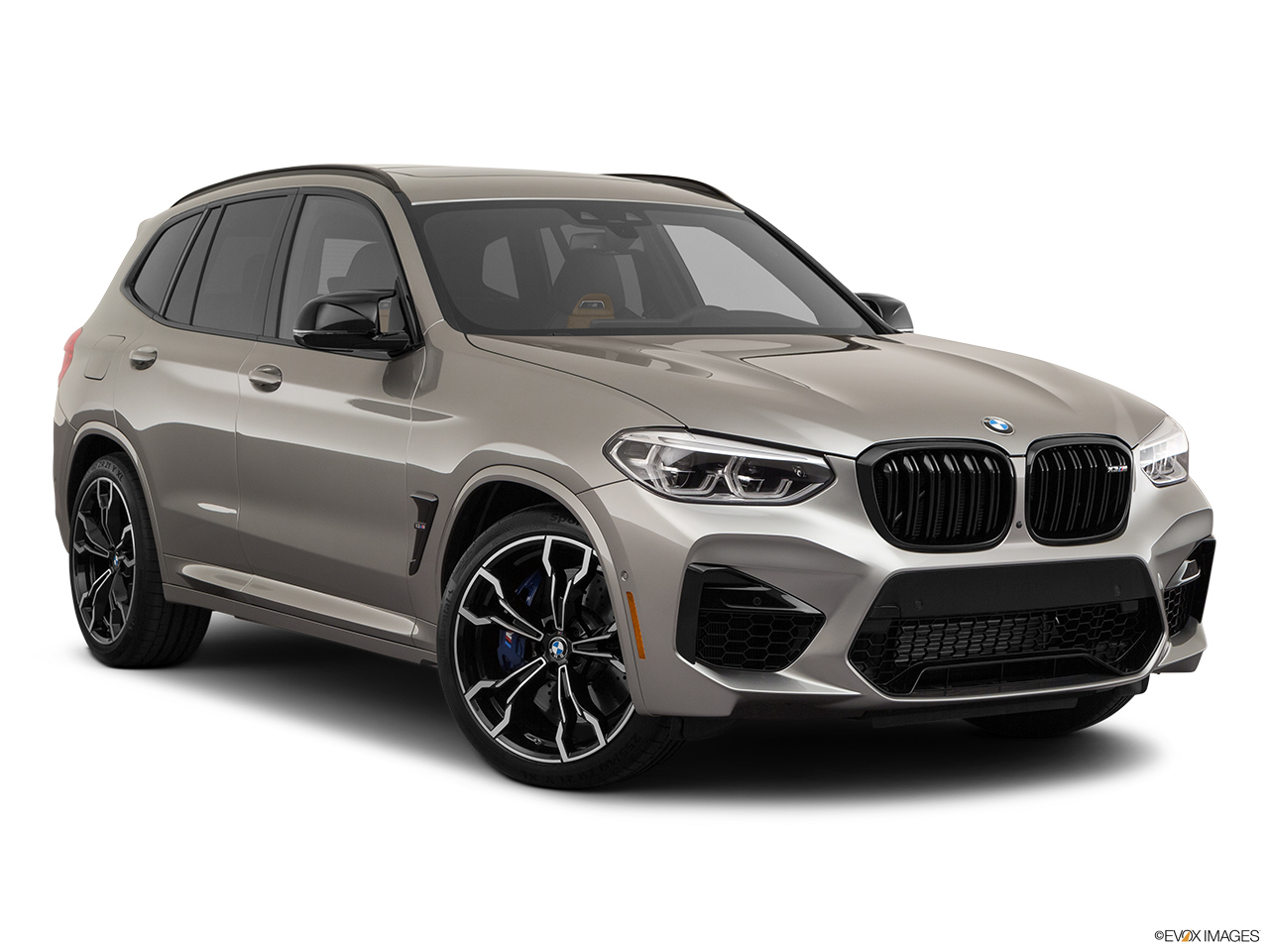 2020 BMW X3 M Competition Front passenger 3/4 w/ wheels turned.