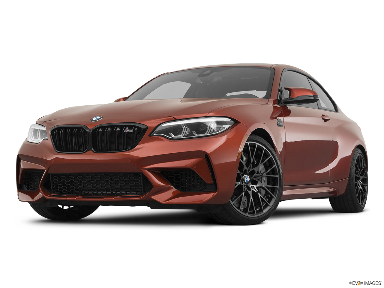 2020 BMW M2 Competition Front angle view, low wide perspective.