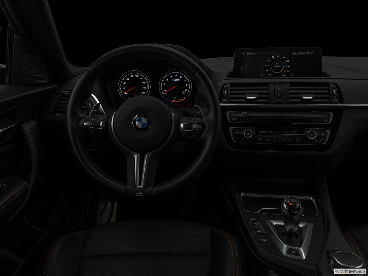 "2020 BMW M2 Competition Centered wide dash shot - ""night"" shot."