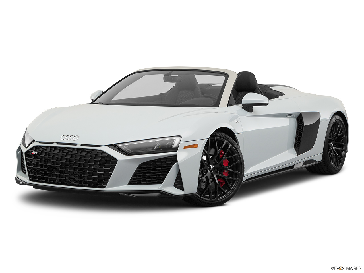 2020 Audi R8 Spyder V10 Front angle medium view.