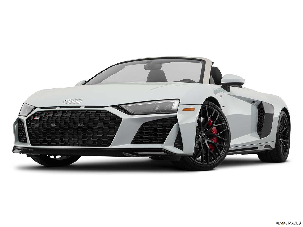 2020 Audi R8 Spyder V10 Front angle view, low wide perspective.