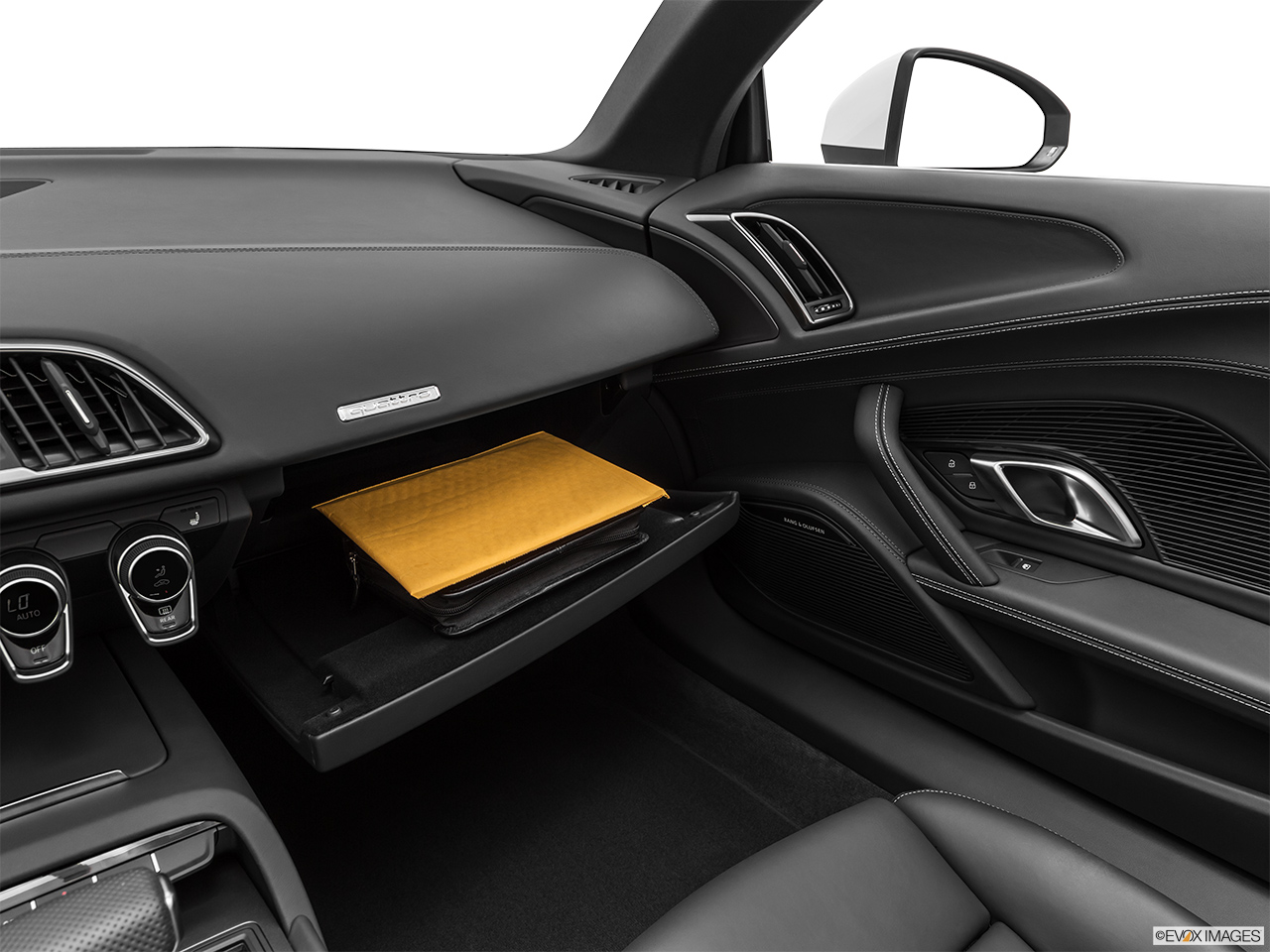 2020 Audi R8 Spyder V10 Glove box open.