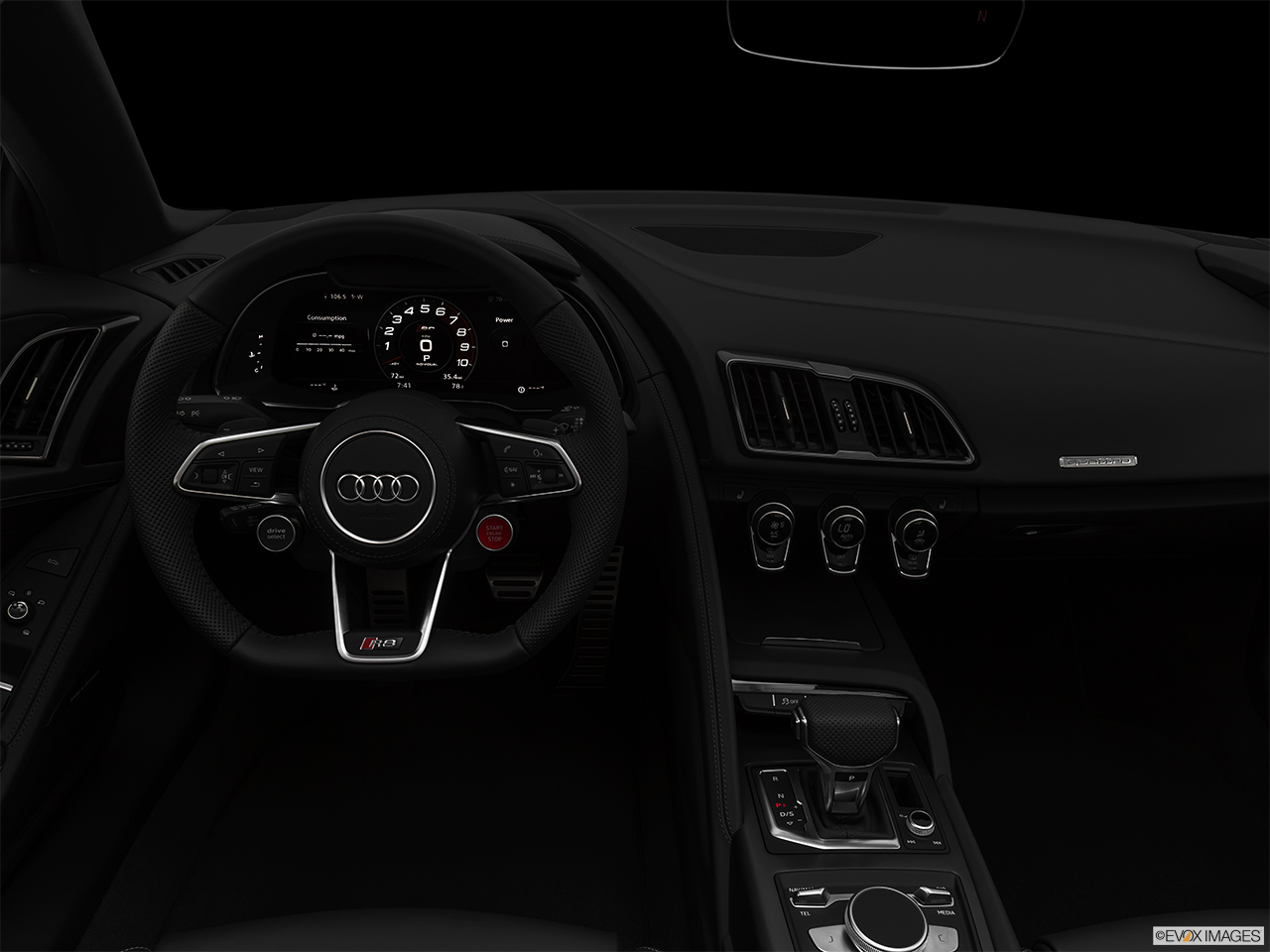 "2020 Audi R8 Spyder V10 Centered wide dash shot - ""night"" shot."