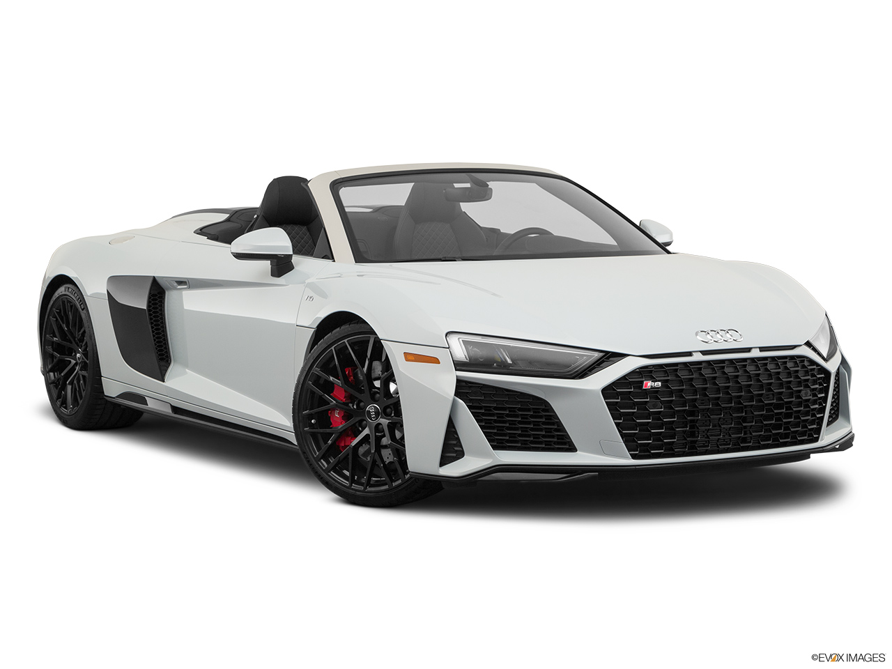 2020 Audi R8 Spyder V10 Front passenger 3/4 w/ wheels turned.