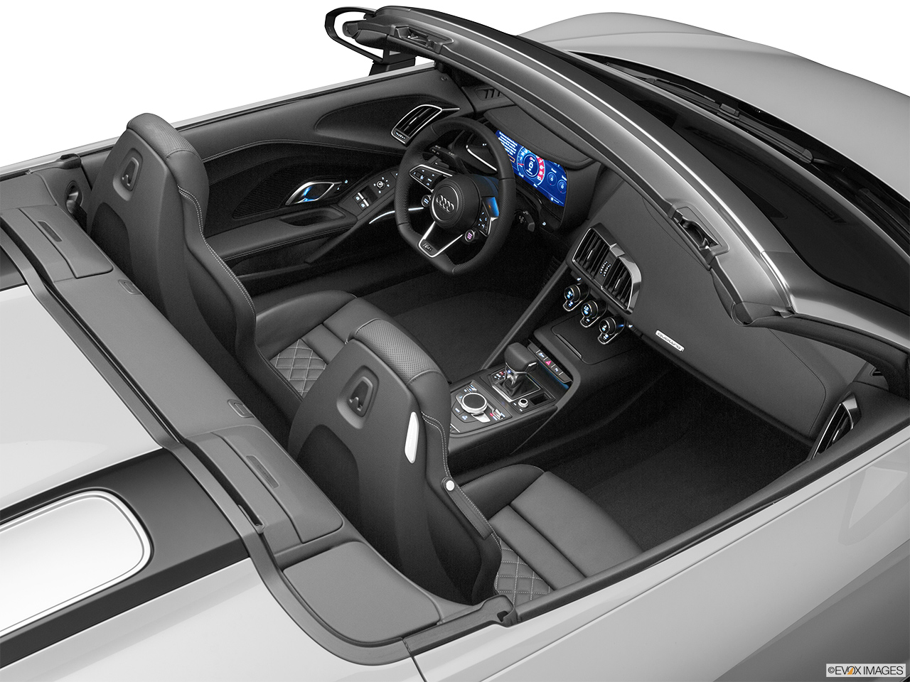 2020 Audi R8 Spyder V10 Convertible Hero (high from passenger, looking down into interior).