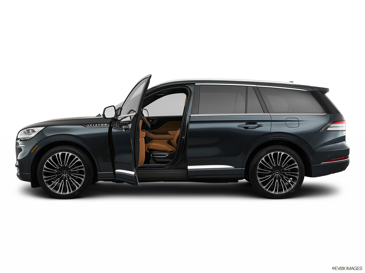 2020 Lincoln Aviator Black Label Driver's side profile with drivers side door open.