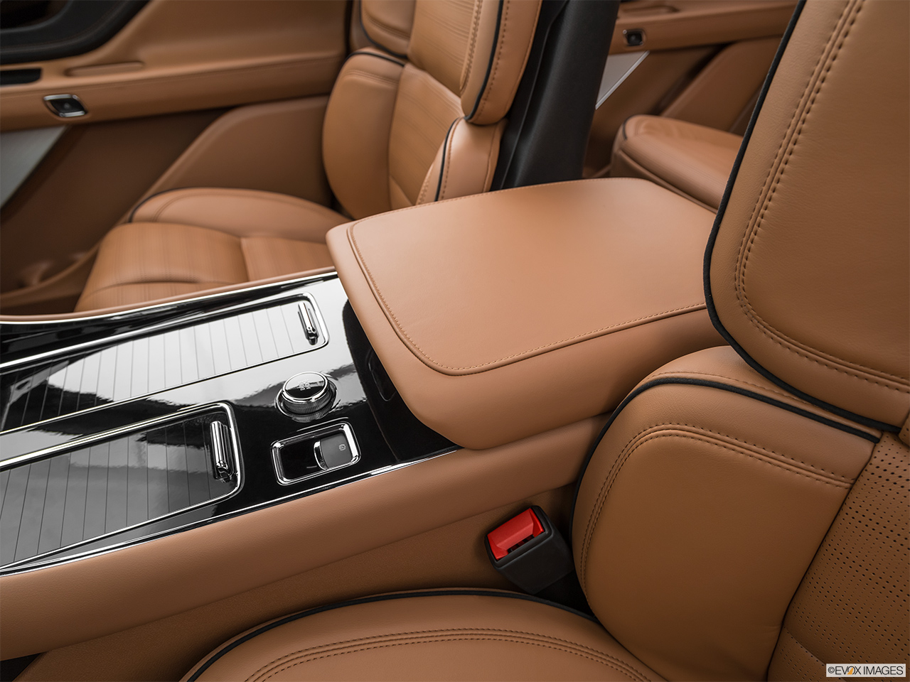 2020 Lincoln Aviator Black Label Front center console with closed lid, from driver's side looking down