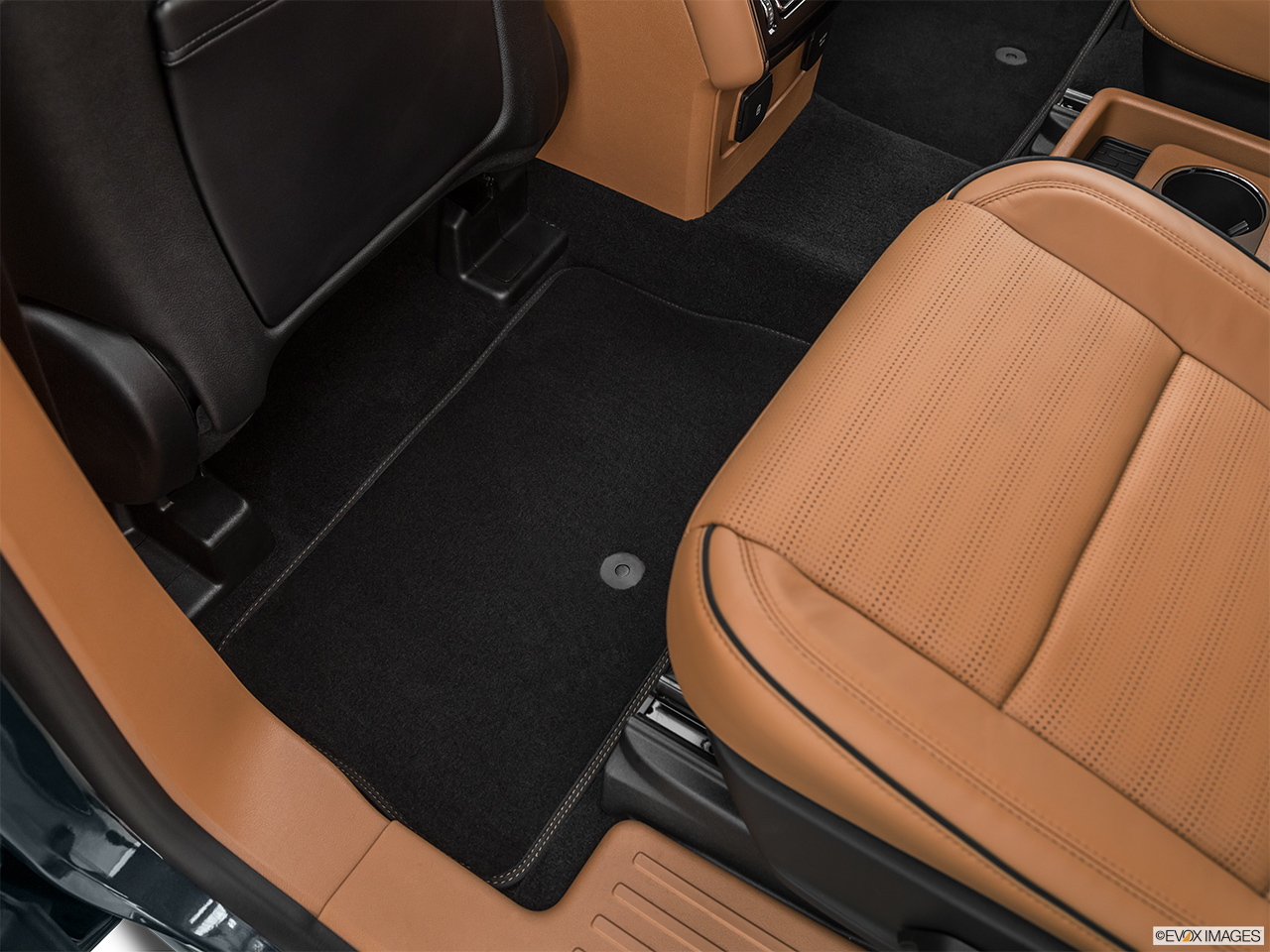 2020 Lincoln Aviator Black Label Rear driver's side floor mat. Mid-seat level from outside looking in.