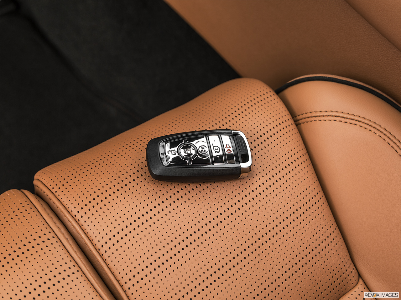 2020 Lincoln Aviator Black Label Key fob on driver's seat.