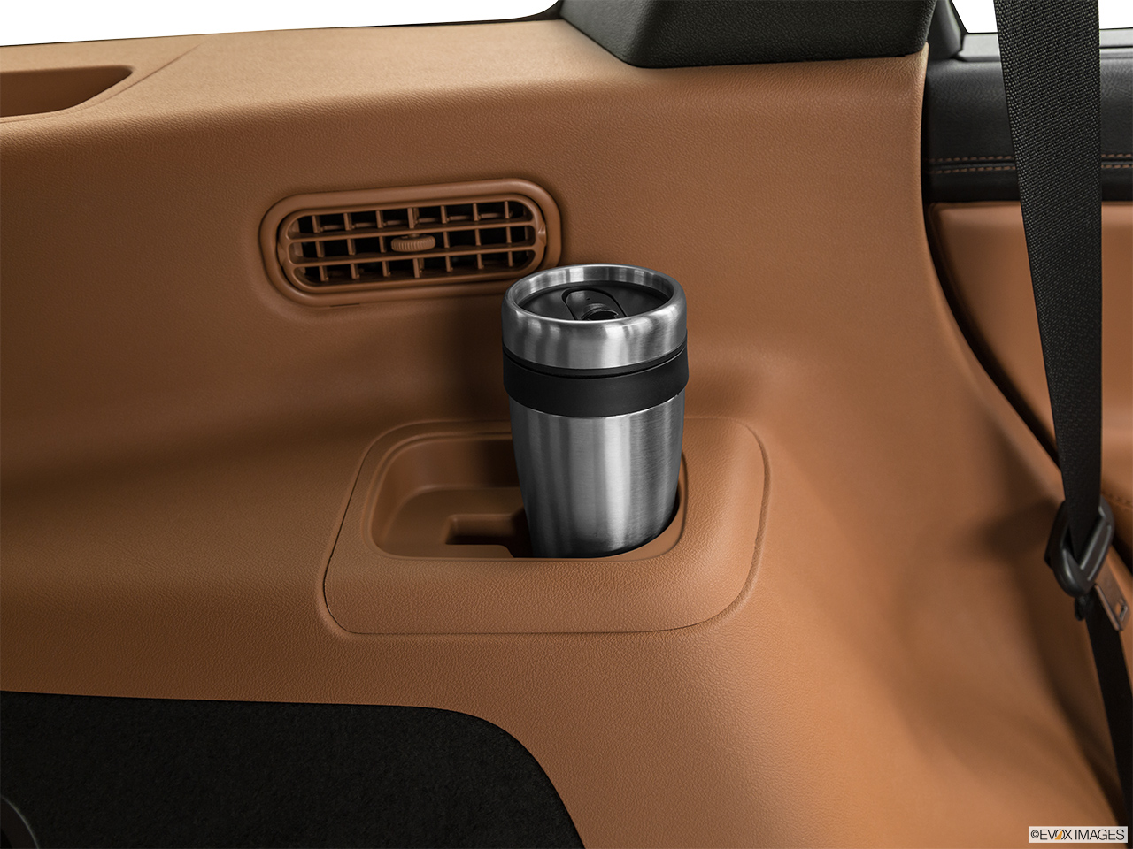 2020 Lincoln Aviator Black Label Third Row side cup holder with coffee prop.
