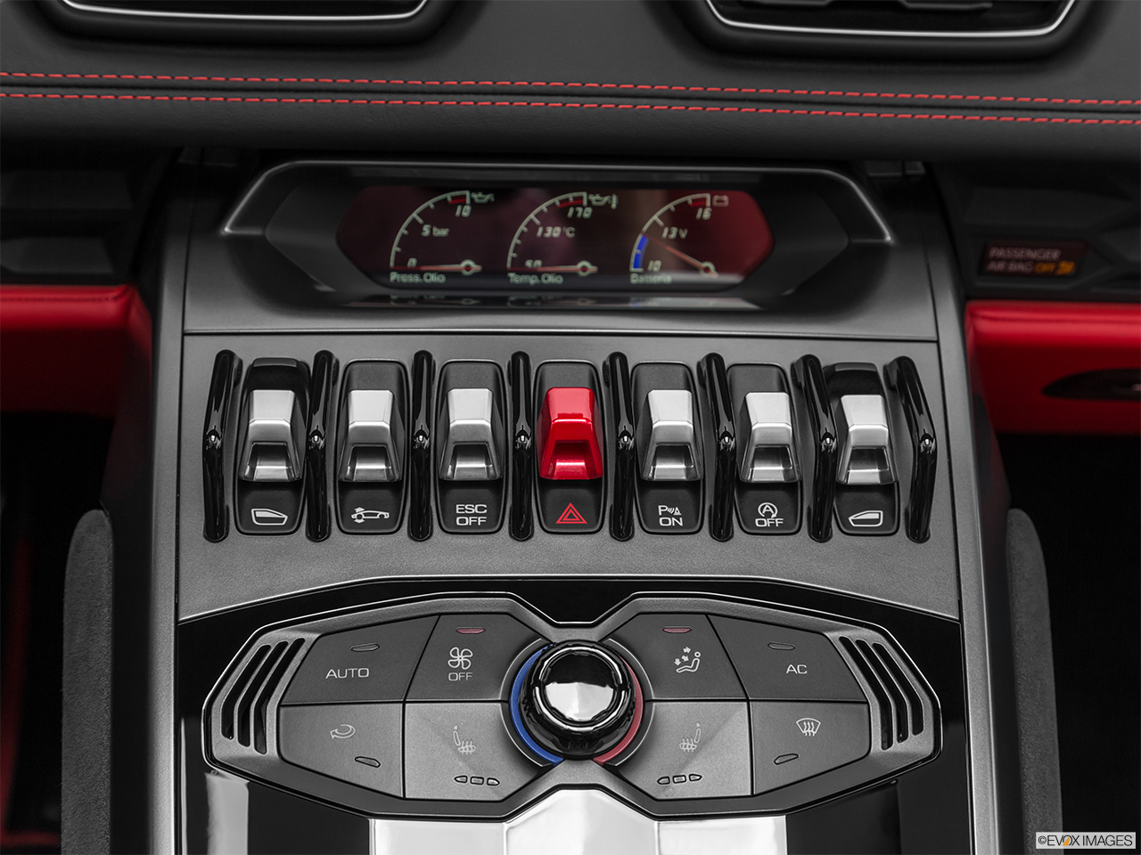 2019 Lamborghini Huracan Spyder LP580-2S Driver's side inside window controls.