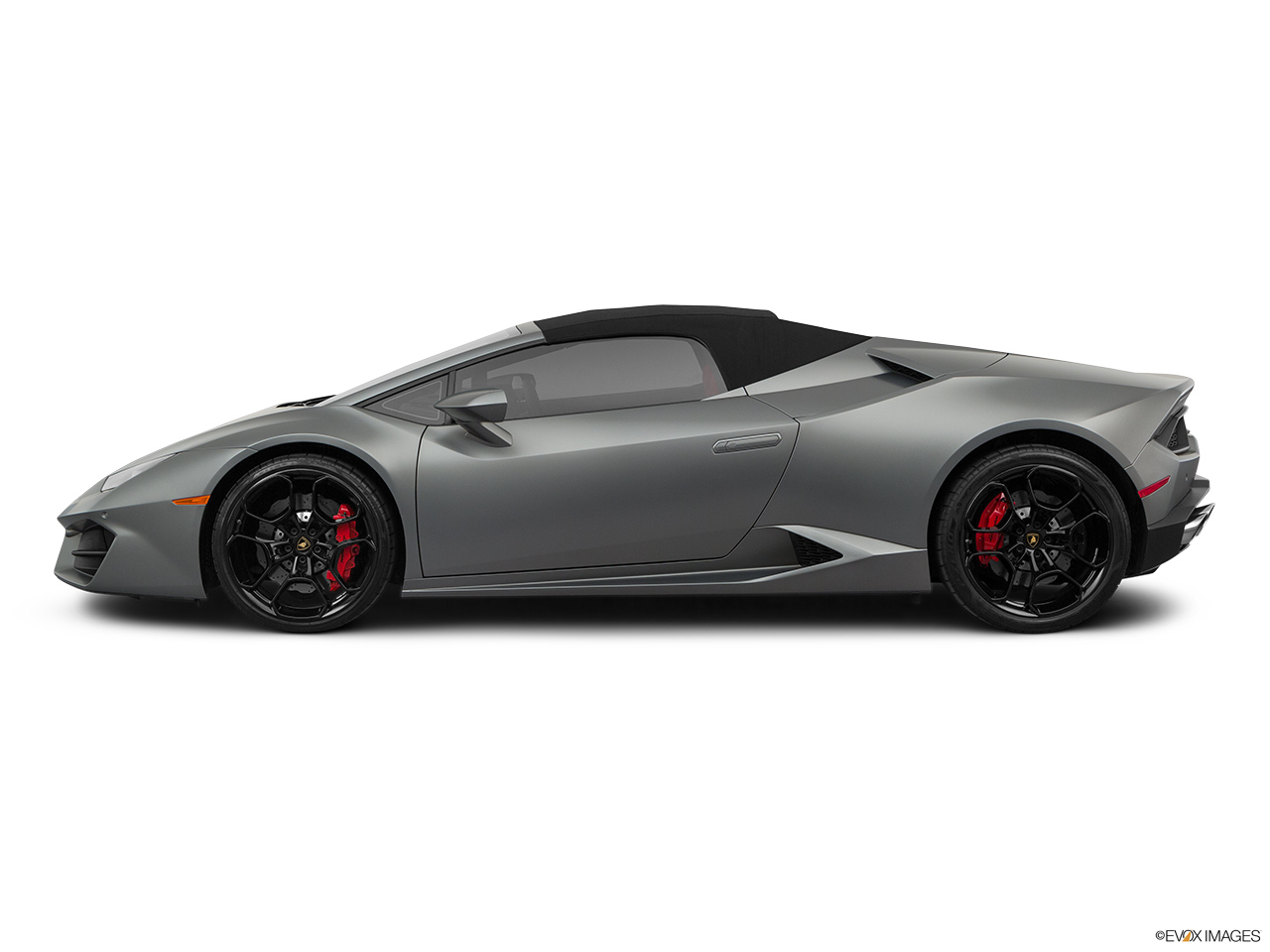 2019 Lamborghini Huracan Spyder LP580-2S Drivers side profile, convertible top up (convertibles only).