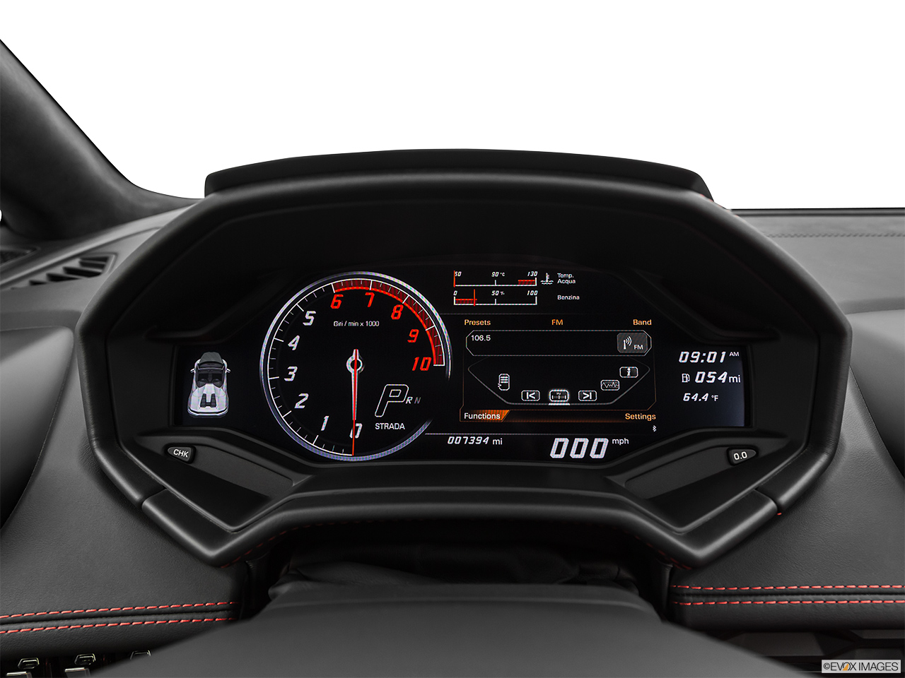 2019 Lamborghini Huracan Spyder LP580-2S Closeup of radio head unit