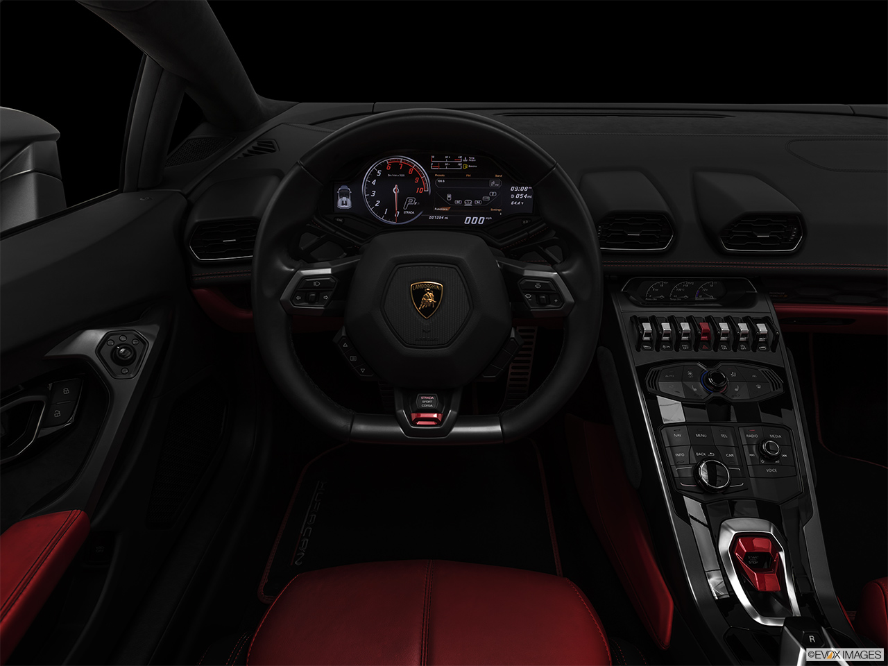 "2019 Lamborghini Huracan Spyder LP580-2S Centered wide dash shot - ""night"" shot."