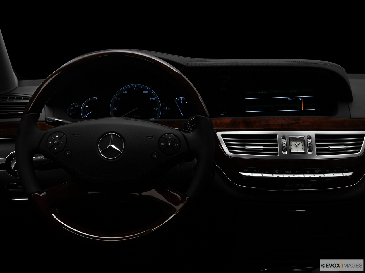 "2010 Mercedes-Benz S-Class Hybrid S400 Centered wide dash shot - ""night"" shot."