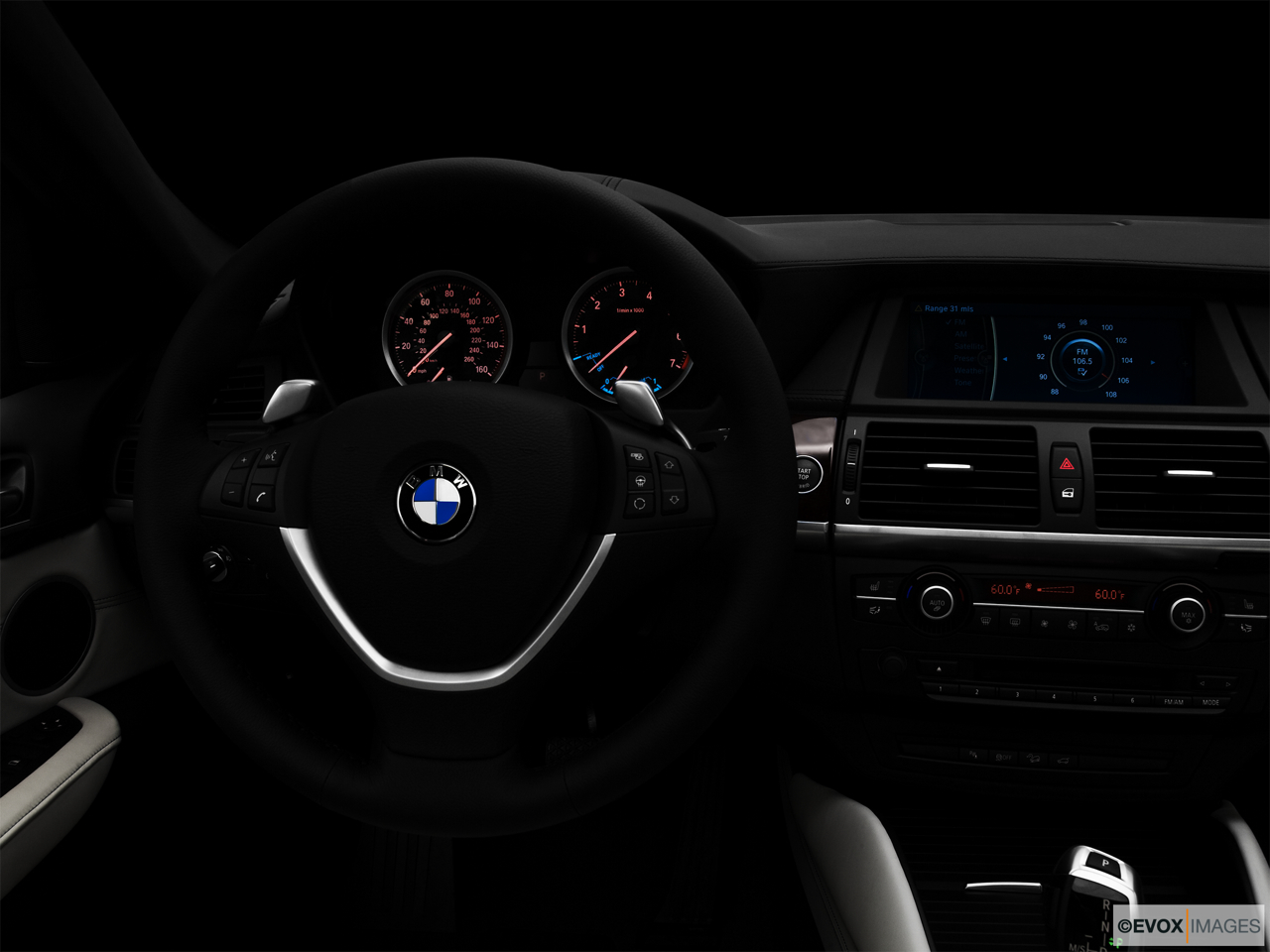 "2010 BMW X6 Hybrid Base Centered wide dash shot - ""night"" shot."