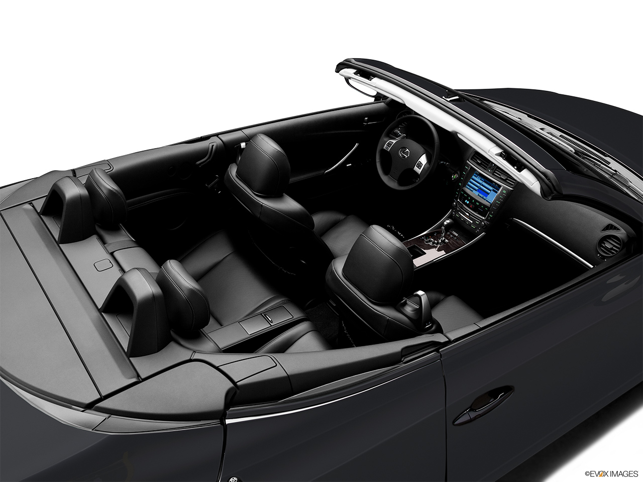 2011 Lexus IS 250C IS250C Convertible Hero (high from passenger, looking down into interior).