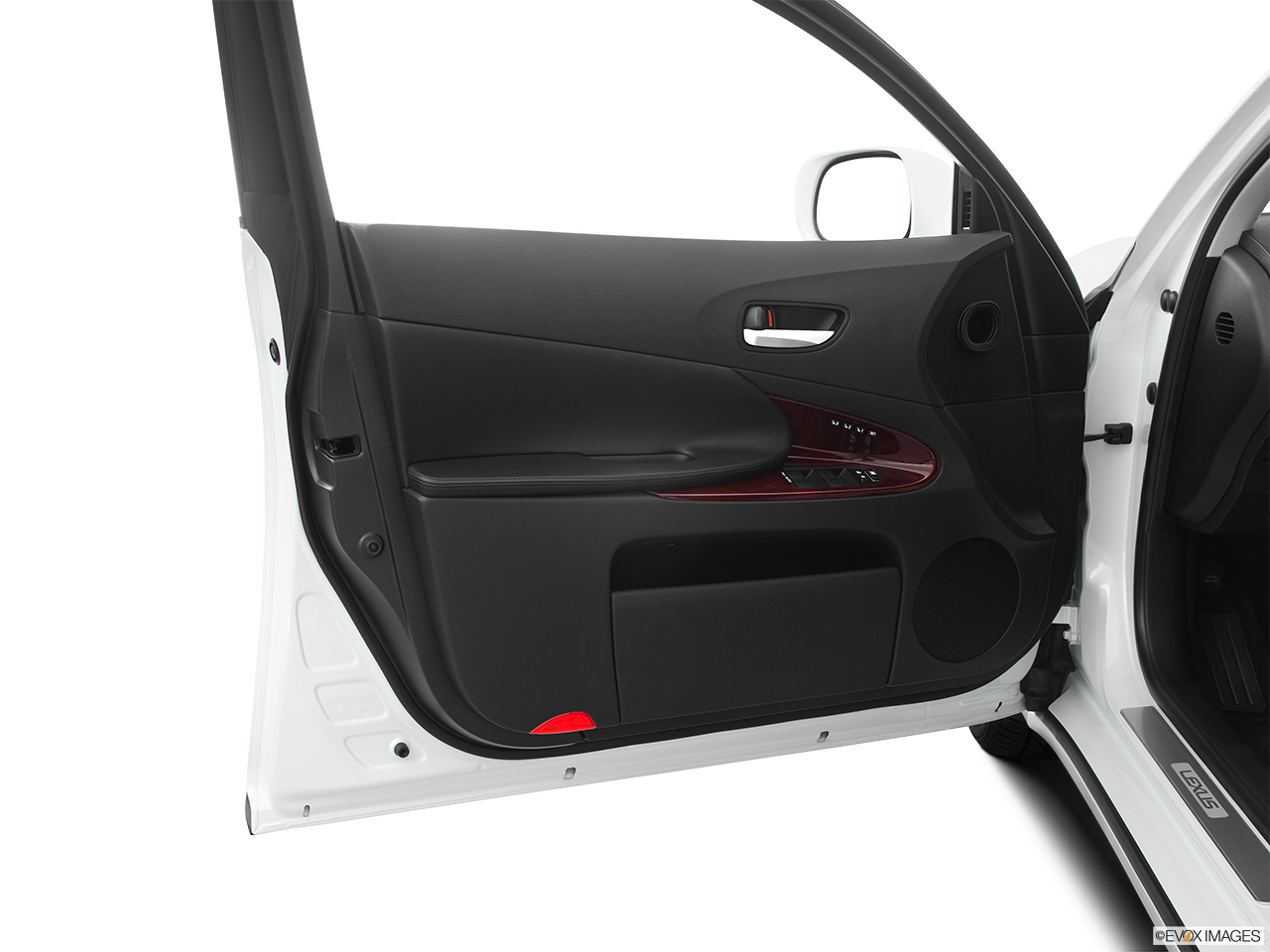 2011 Lexus GS Hybrid GS450h Inside of driver's side open door, window open.
