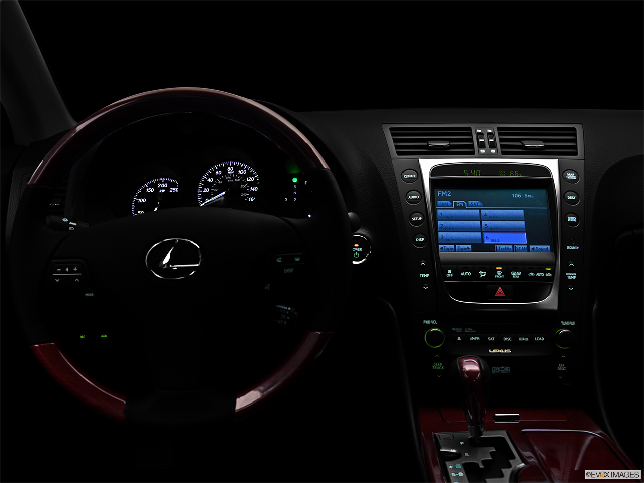 "2011 Lexus GS Hybrid GS450h Centered wide dash shot - ""night"" shot."