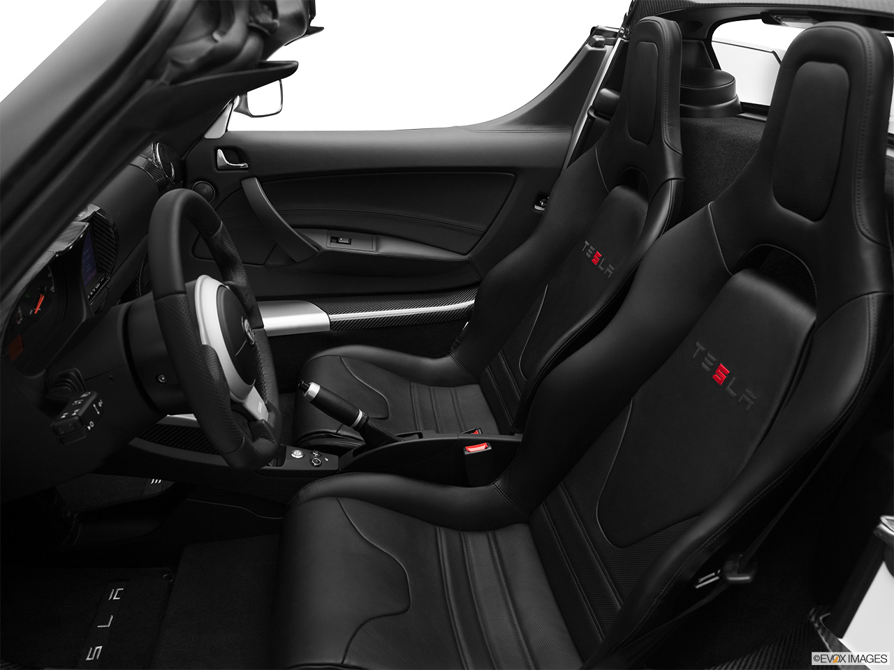 2010 Tesla Roadster sport Front seats from Drivers Side.